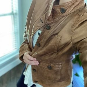 Gap distressed soft leather button up moto jacket